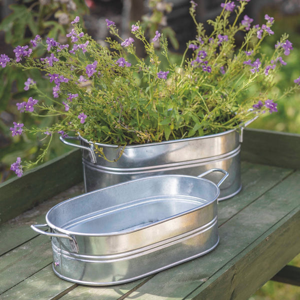 GALVANISED METAL PLANTER FARMINGTON BY GARDEN TRADING