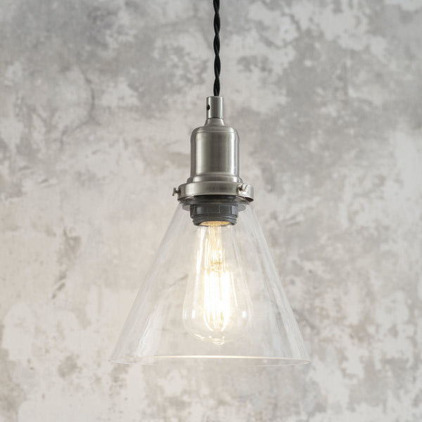Hoxton glass pendant light with nickel housing