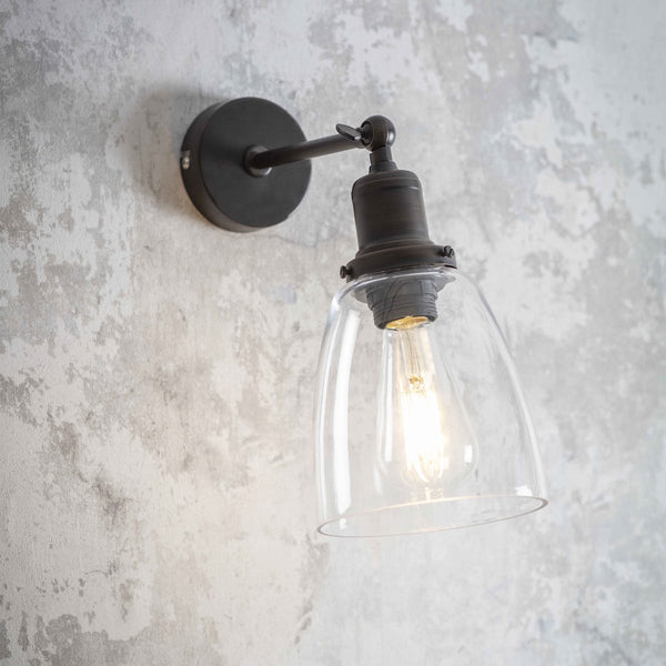 Hoxton bronze and glass wall light