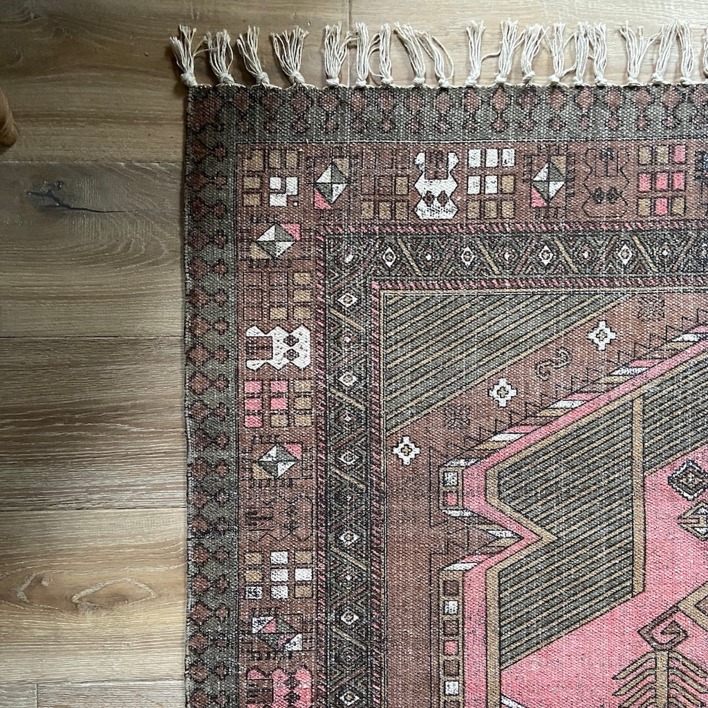 printed Turkish style cotton rug in pink and brown