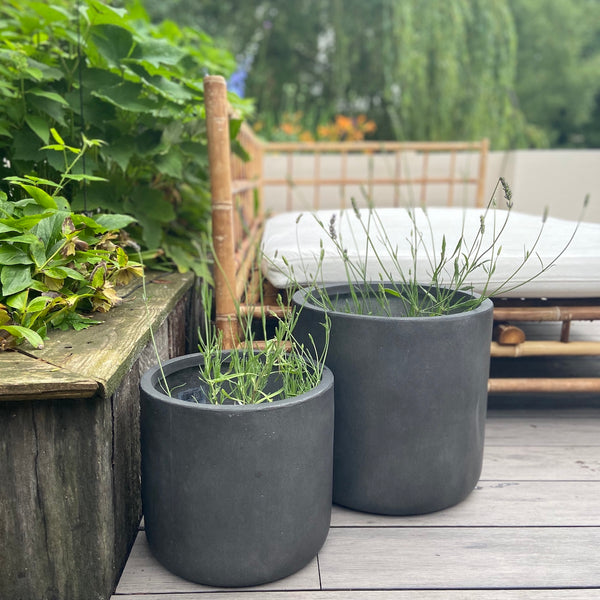 fibre clay round grey planter
