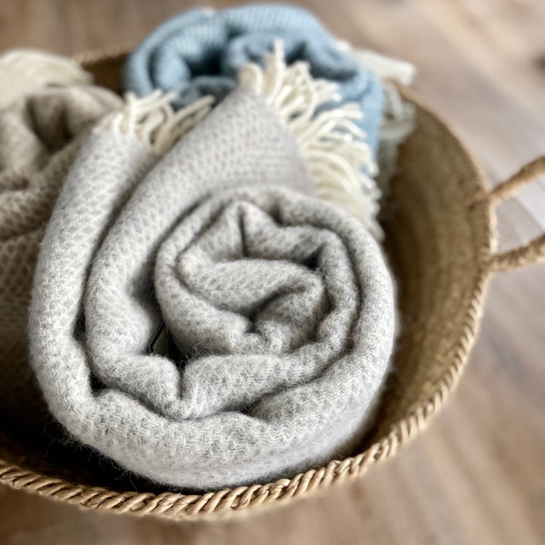 Tweedmill beehive wool throw in grey