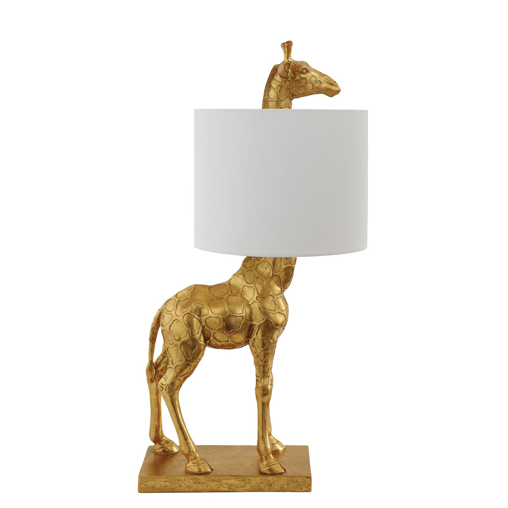 gold giraffe lamp with white shade by Bloominville