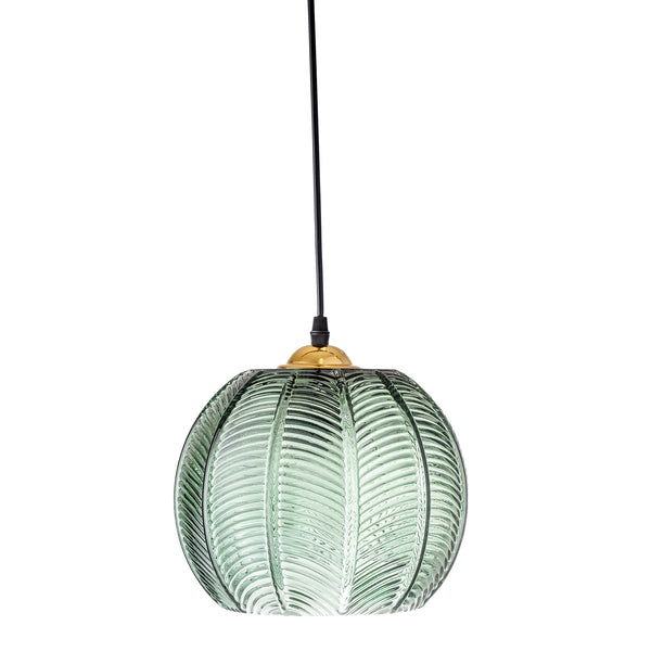 Green glass leaf pendant light