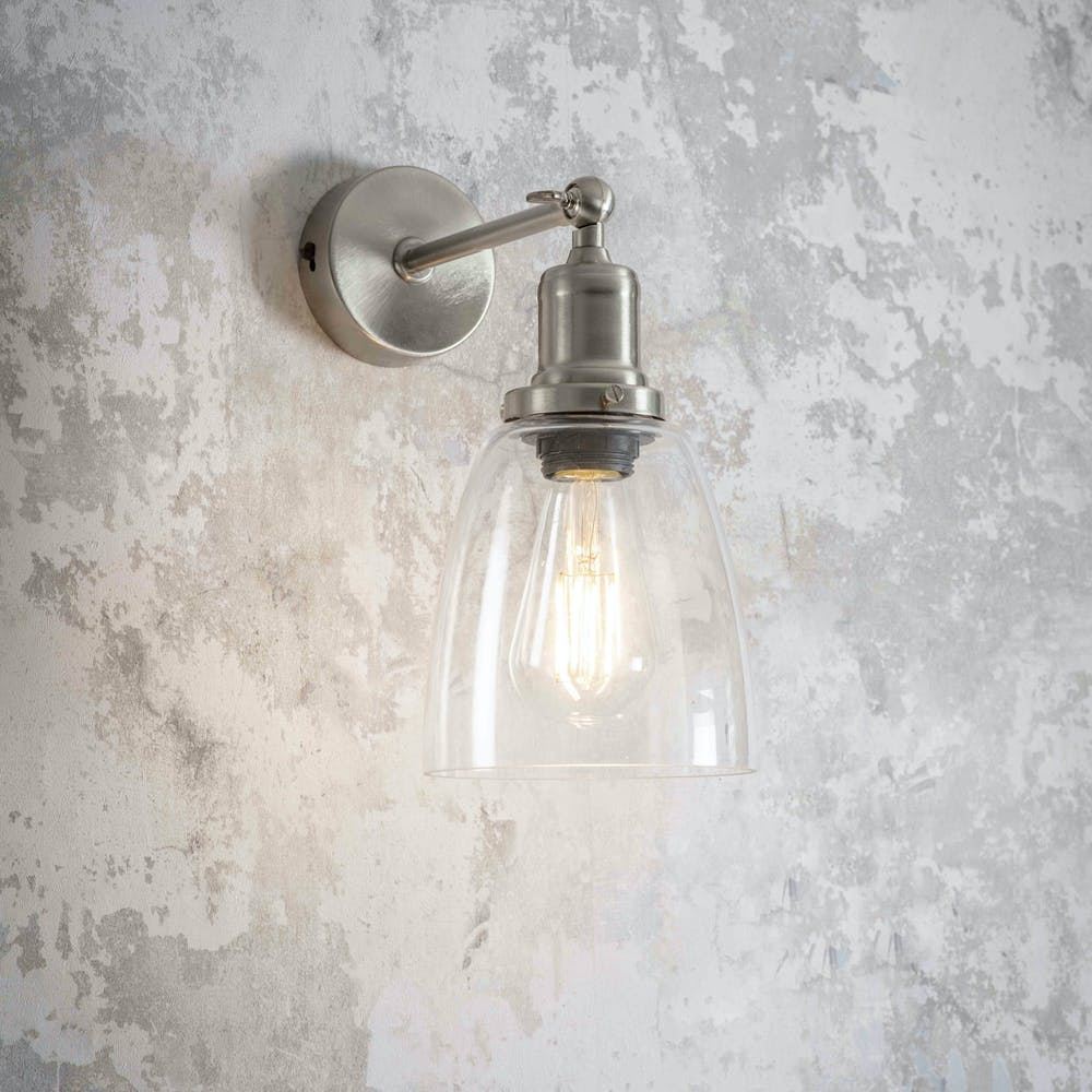 Hoxton wall light glass shade and nickel fitting