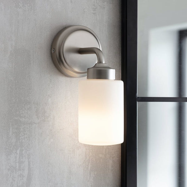 Waterloo bathroom wall light with frosted glass shade