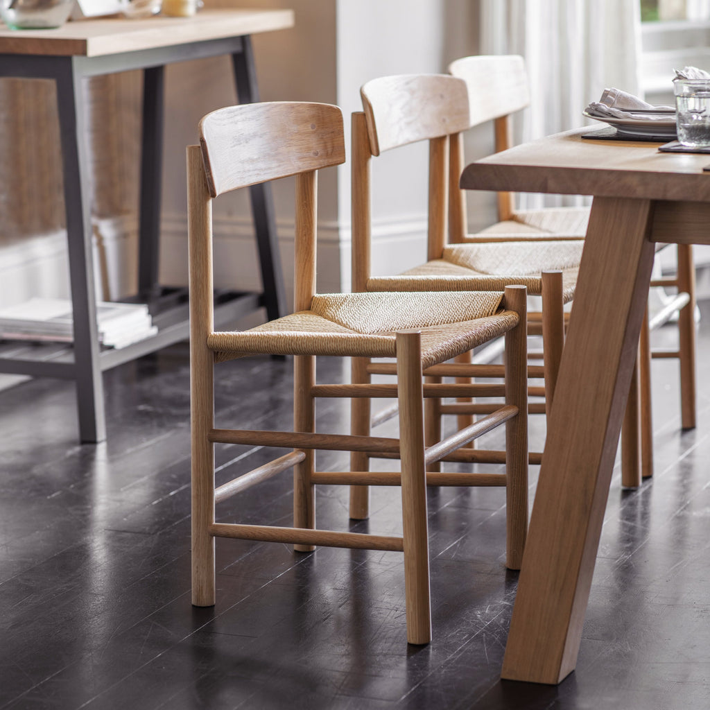 oak dining chair with woven seat