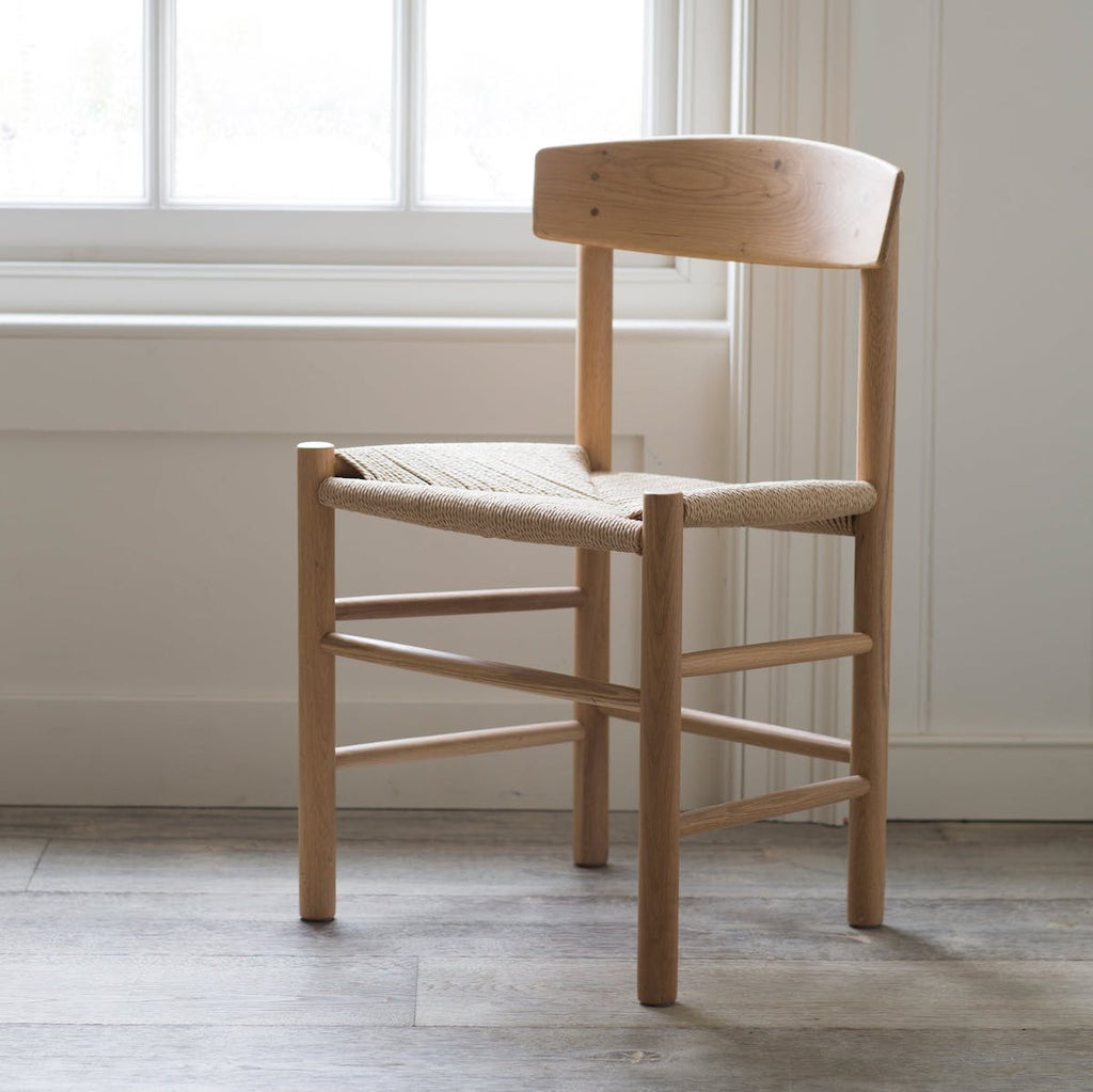 oak chair with woven seat