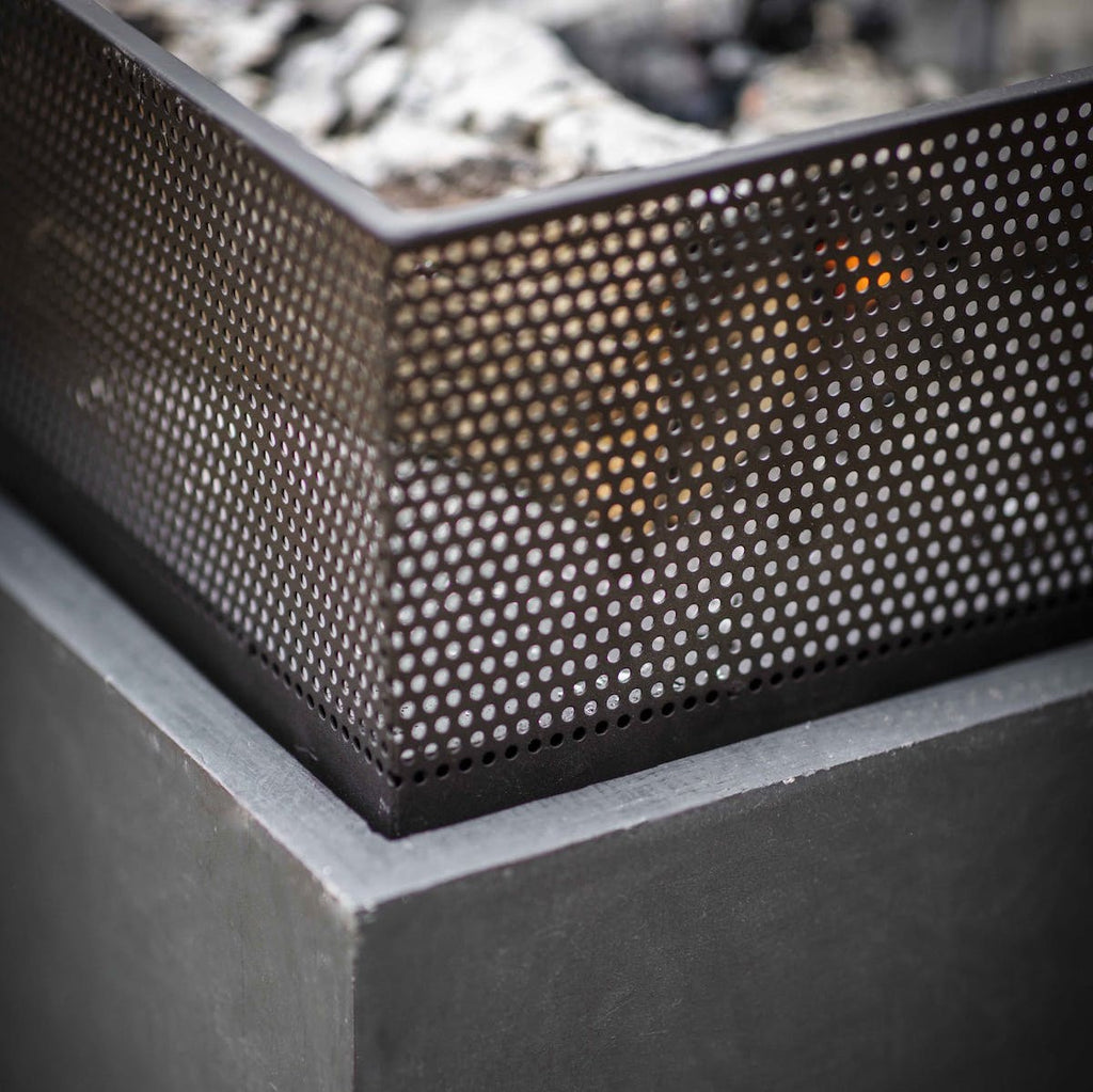 detail of square modern fire pit