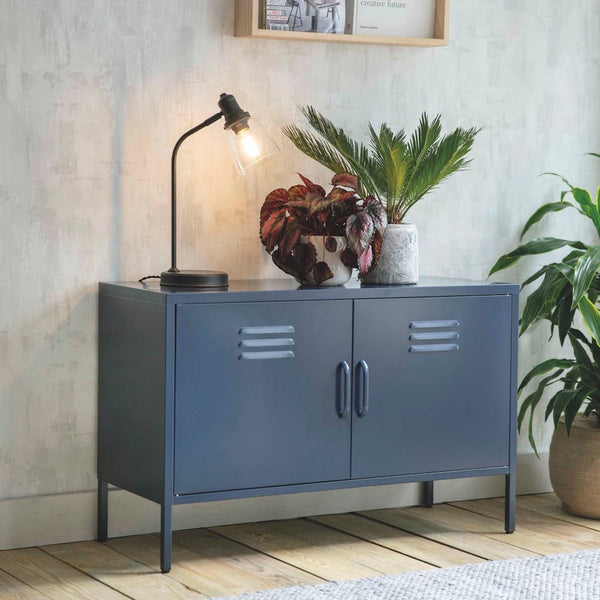 metal locker cabinet in dark blue