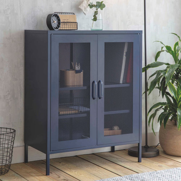 metal storage cabinet in ink blue