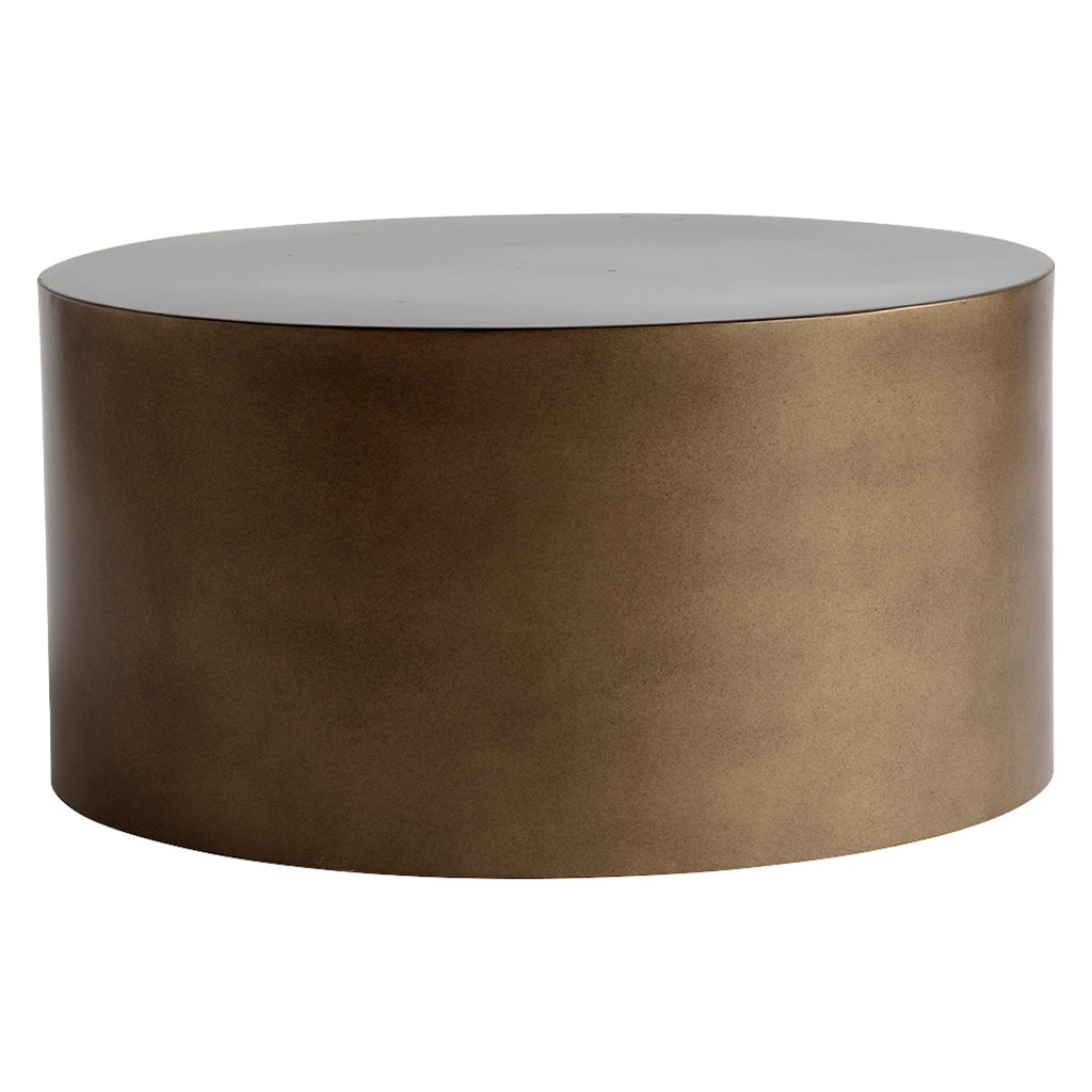 Bronze metal coffee table in a drum shape