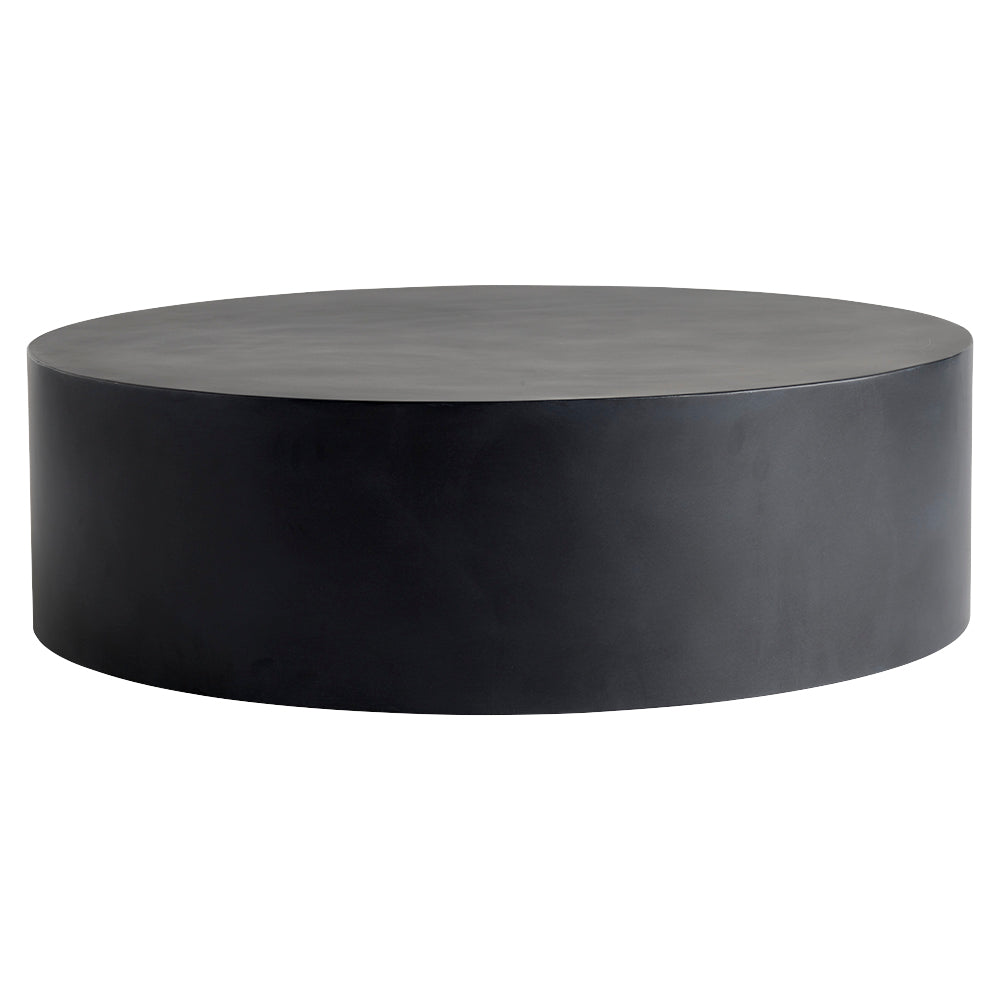 circular coffee table in black metal