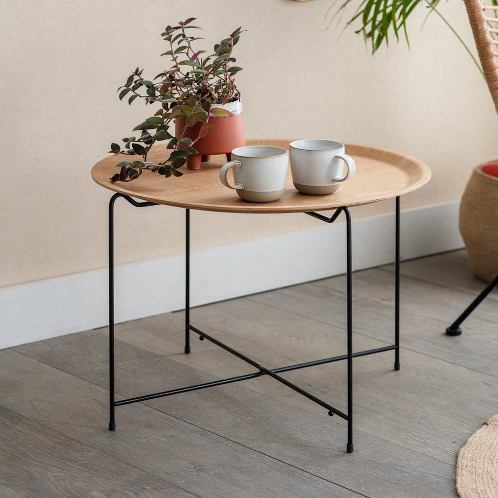 Mayfield wood side table on a foldable black metal frame