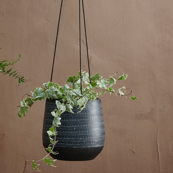 Mahika hanging black metal planter by Nkuku