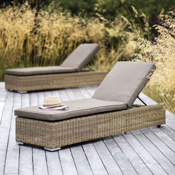 Garden sun lounger in all weather rattan
