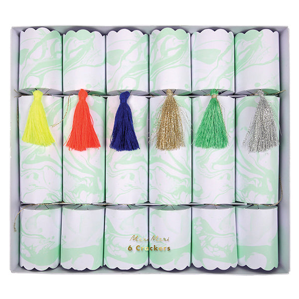 mint marble Christmas crackers