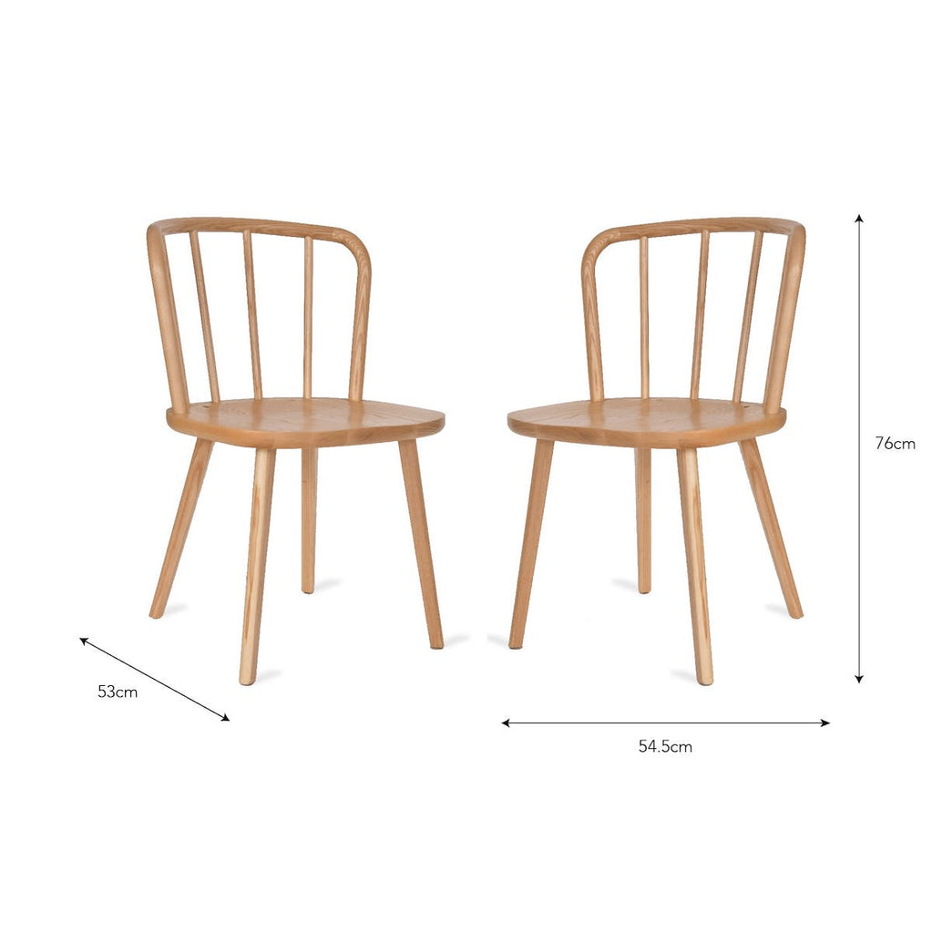 Natural ash wood dining chairs Uley