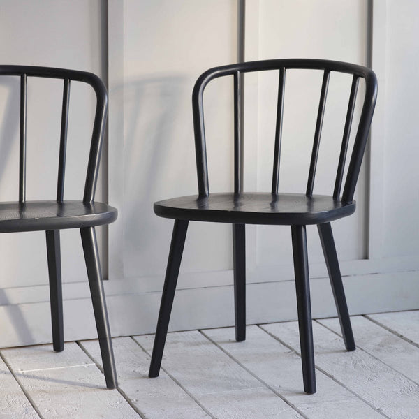 black Uley wooden chairs by Garden Trading