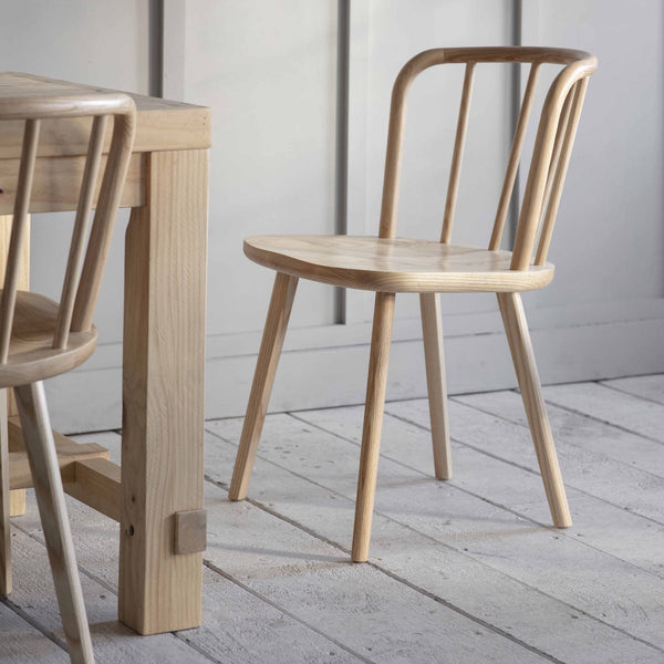 Natural ash wood dining chairs