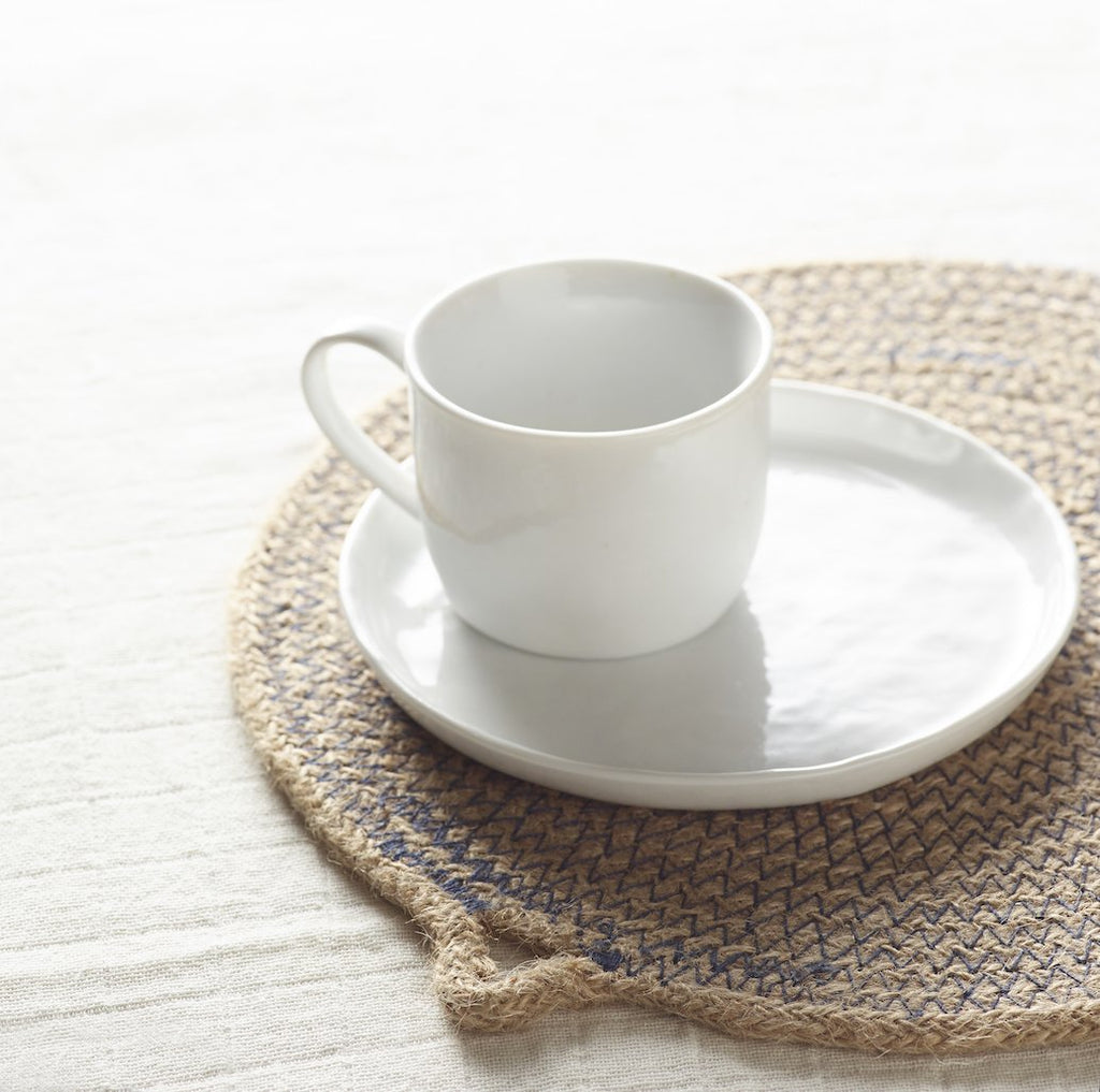 Porcelino white teacup and saucer