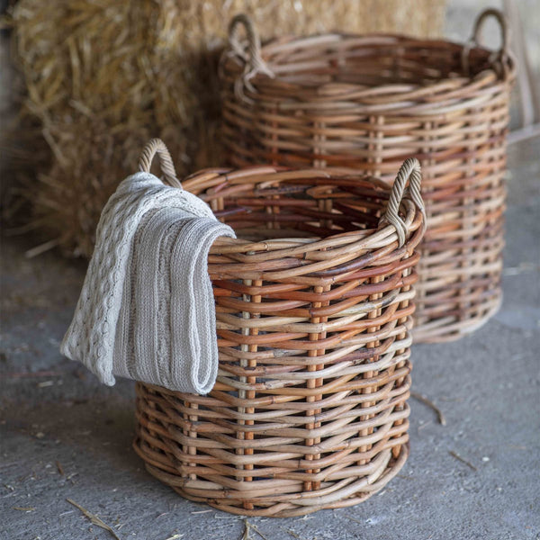 large round rattan baskets for logs or laundry