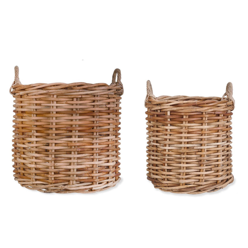 round rattan baskets in two sizes