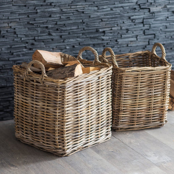square rattan baskets in two sizes