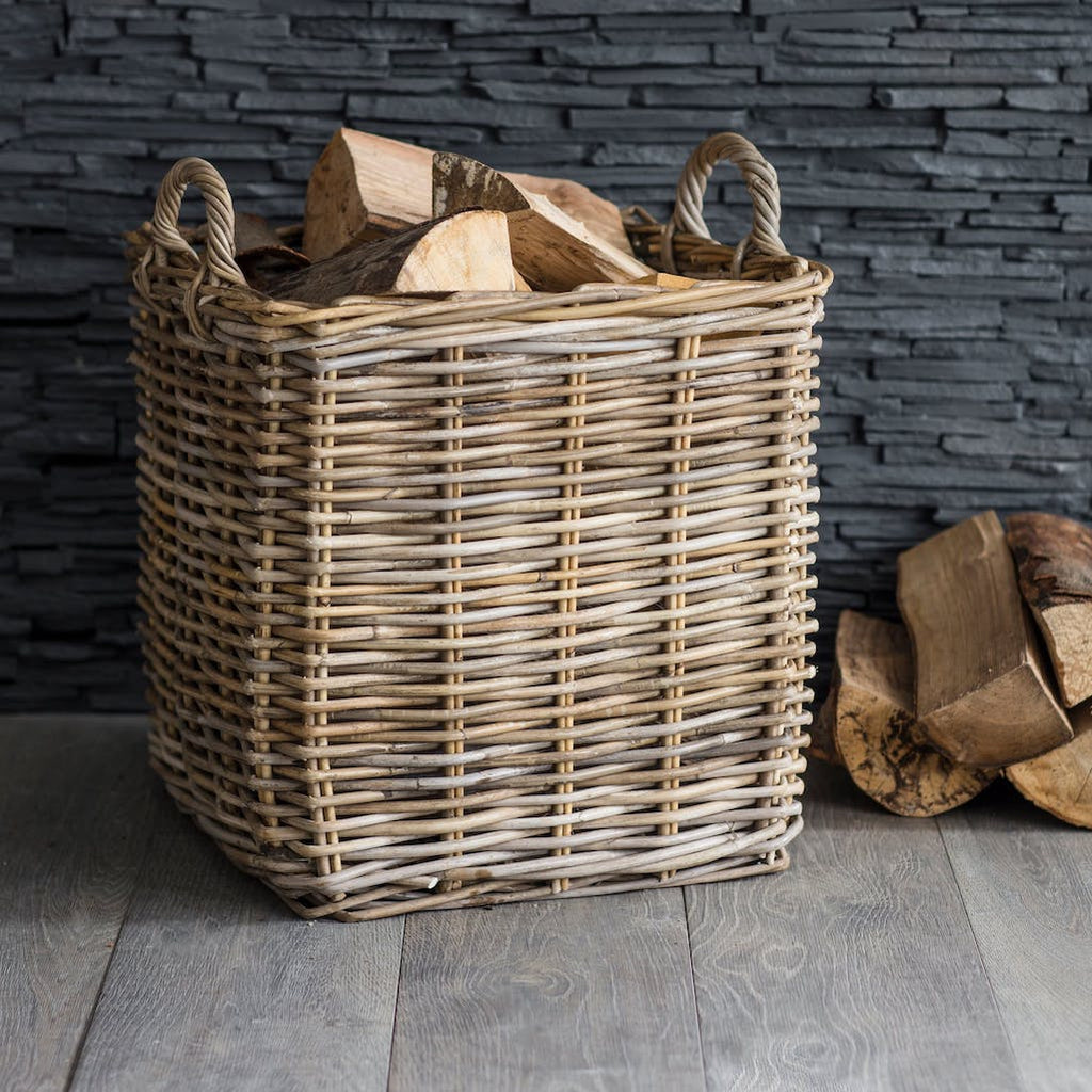 square rattan basket by Garden Trading