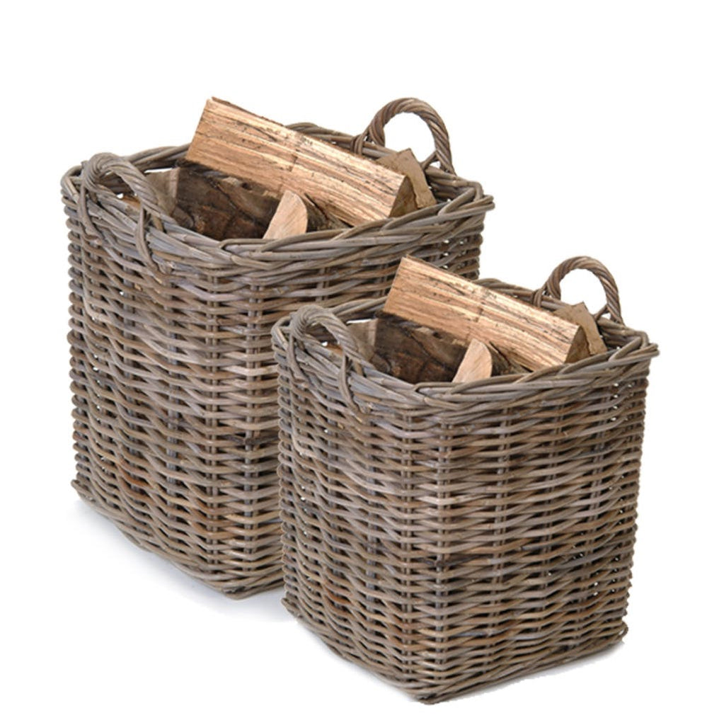 square rattan log basket