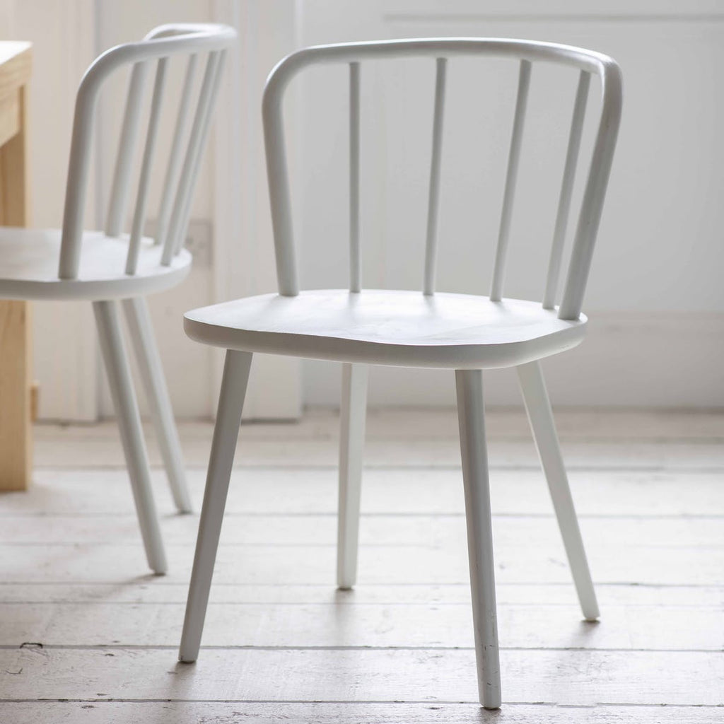 Uley white wood spindle back dining chair