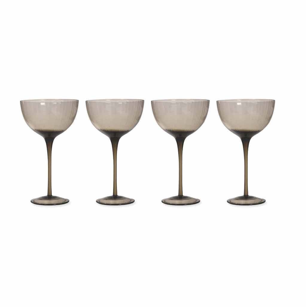 set of four champagne glasses