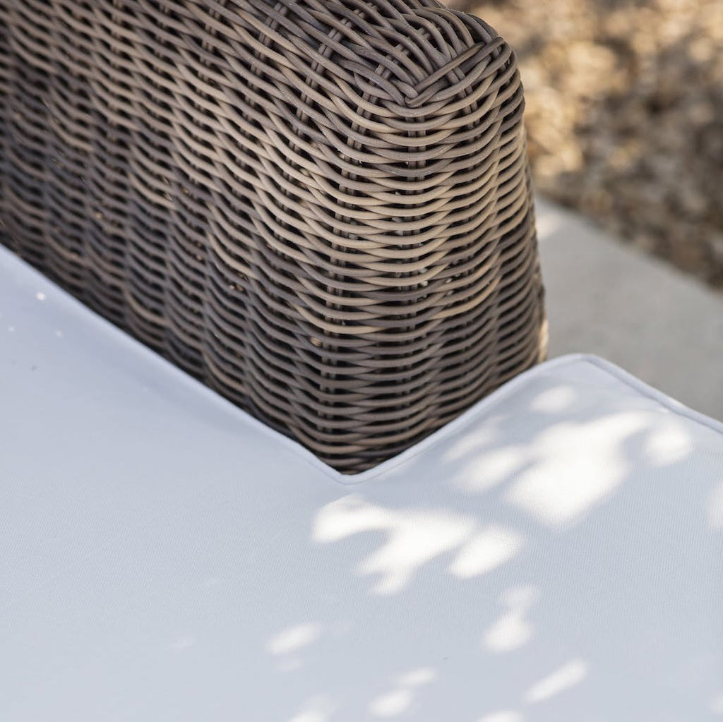 detail of rattan outdoor sofa