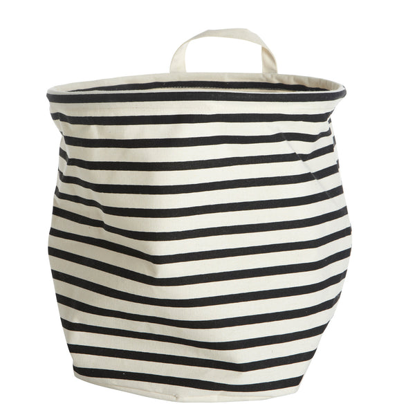 black and white storage stripe bag with handle