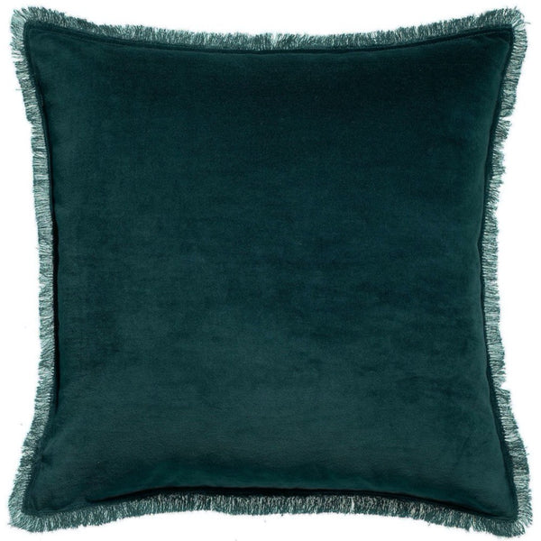 teal velvet cushion with fringe edges