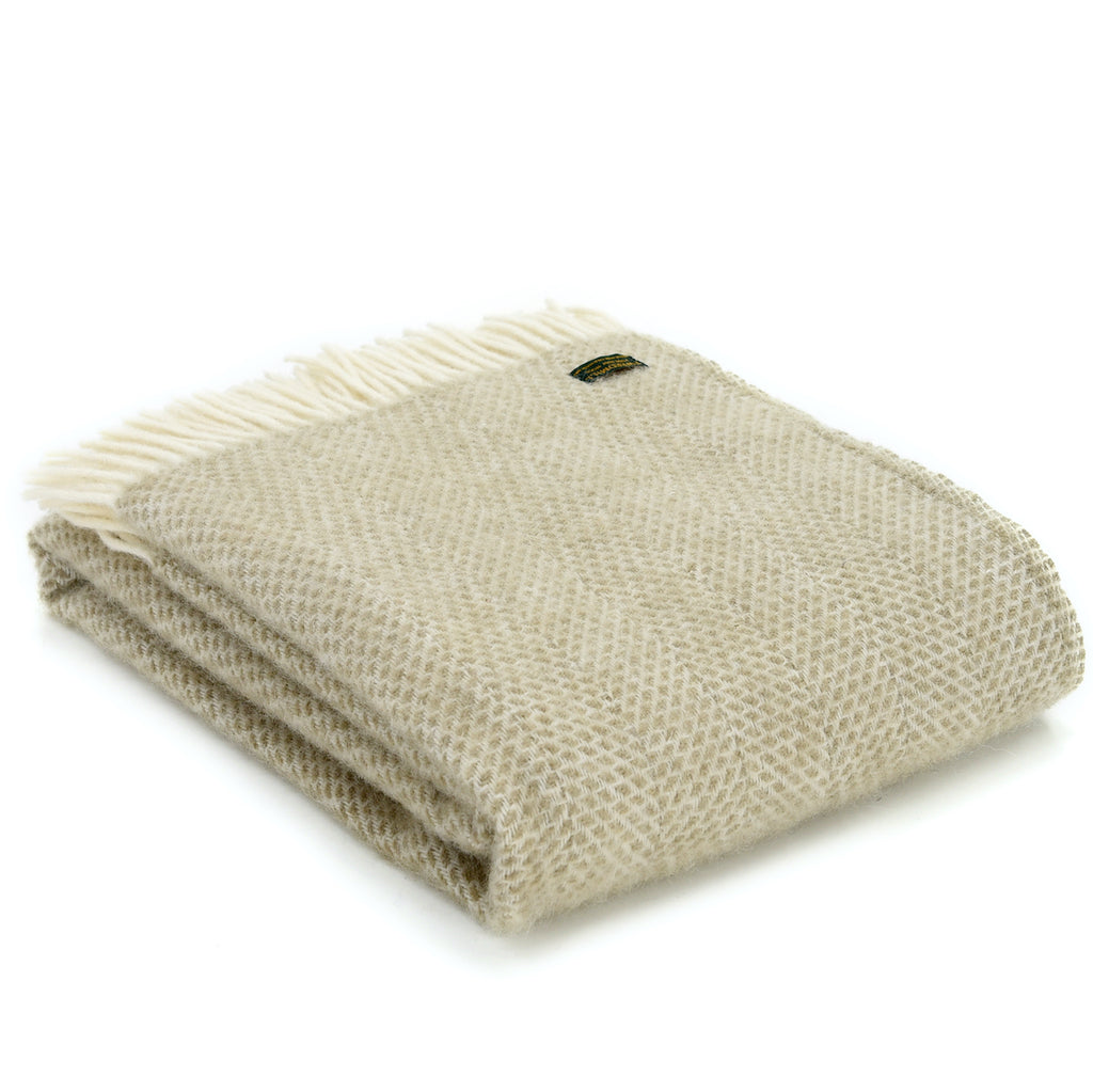 oatmeal natural wool throw by Tweedmill