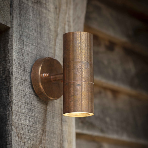 Copper up and down wall light for outdoors or indoors
