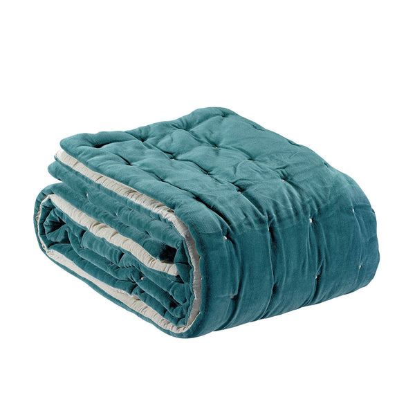 Quilted Velvet Throw Peacock Green