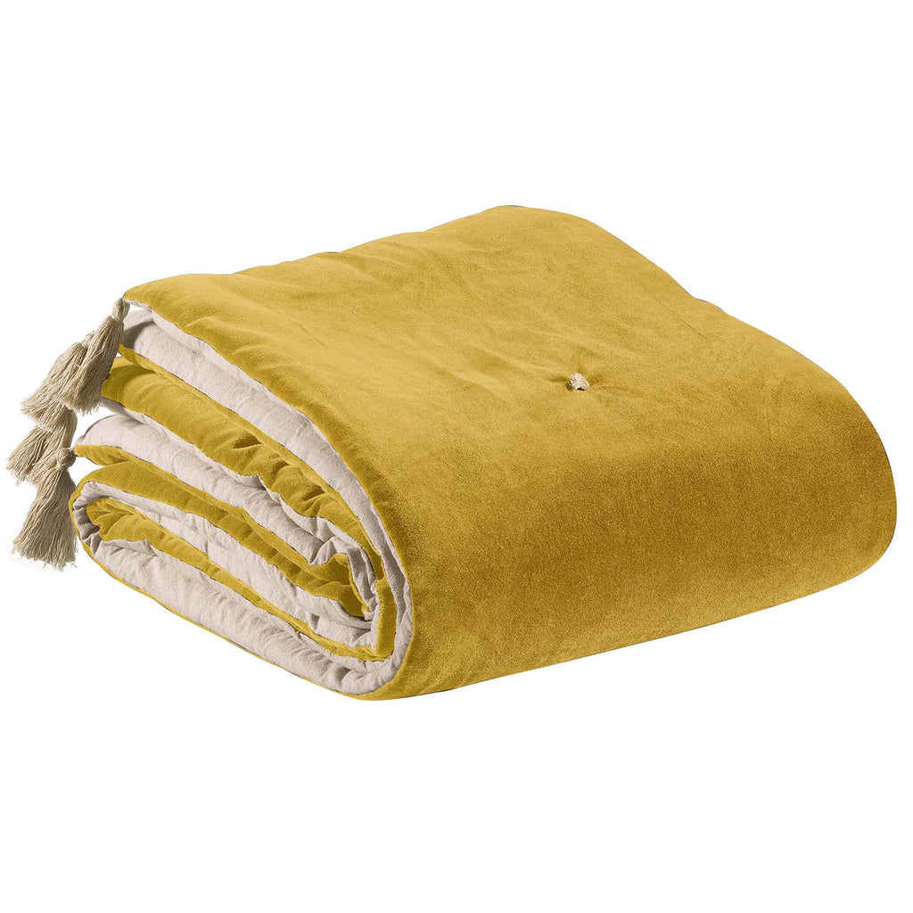 yellow velvet throw with tassels