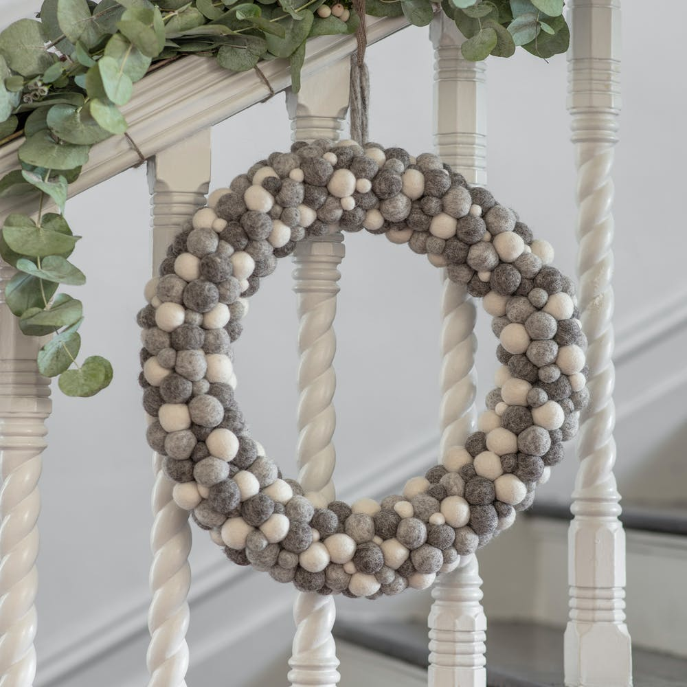 grey and white felt pom pom wreath