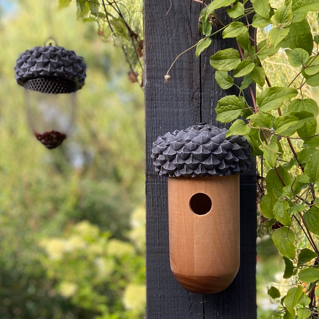 acorn shaped wooden bird house