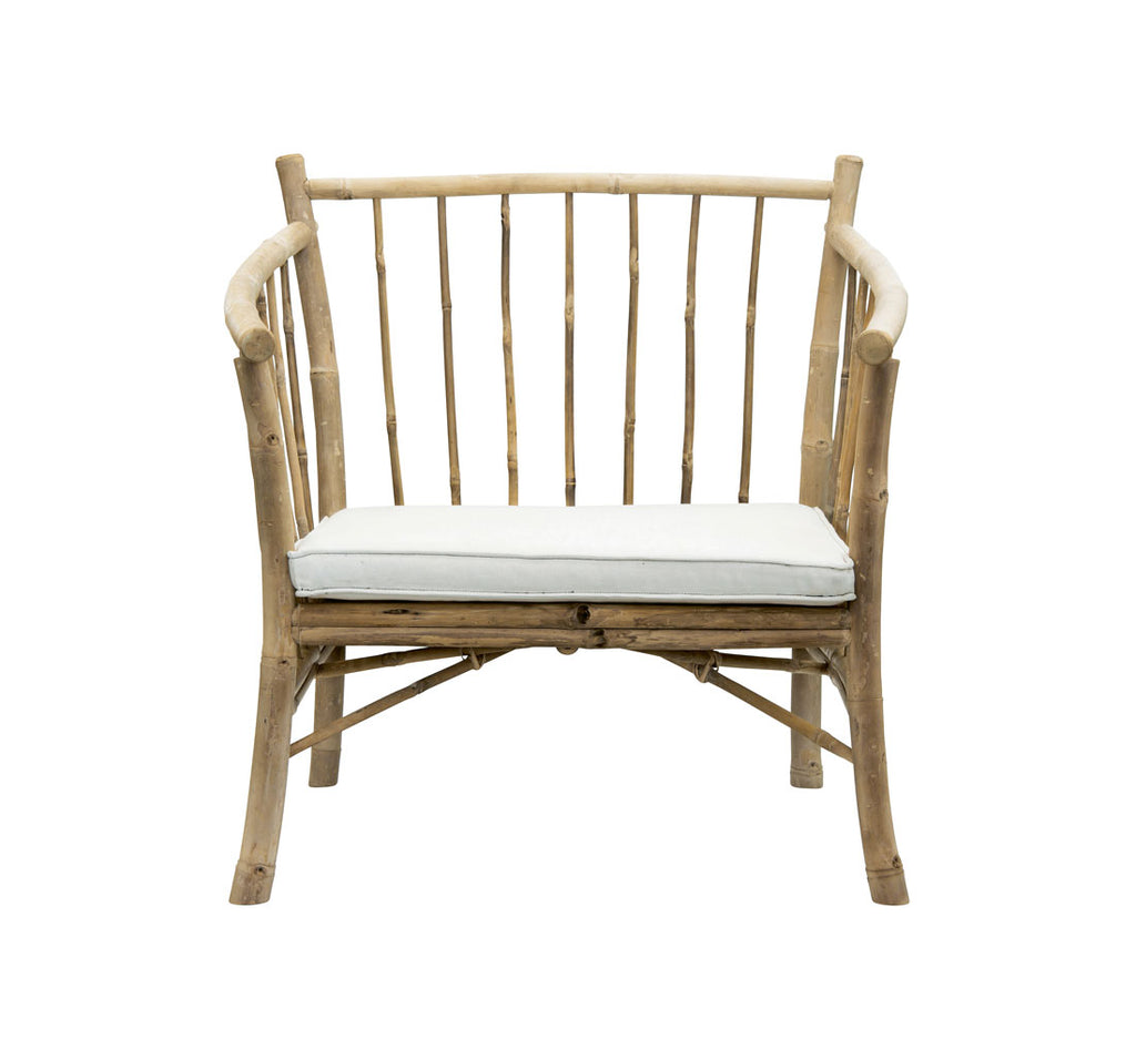 Outdoor chair with white cushion