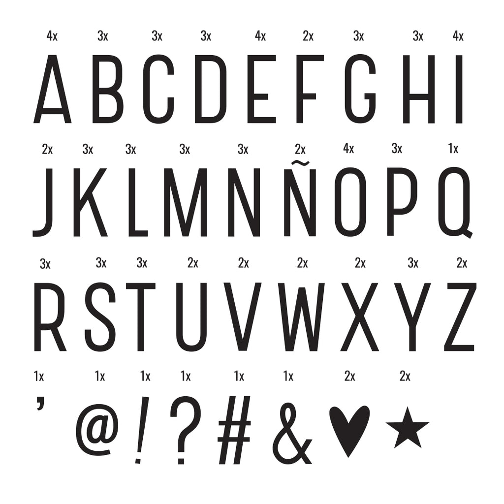 Lightbox letter set