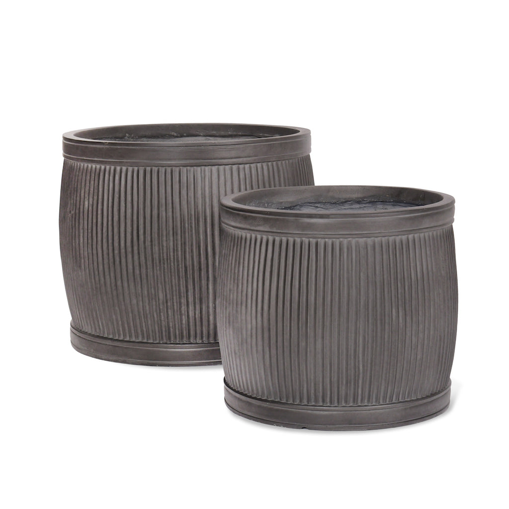 Ribbed round planters made from fibre clay