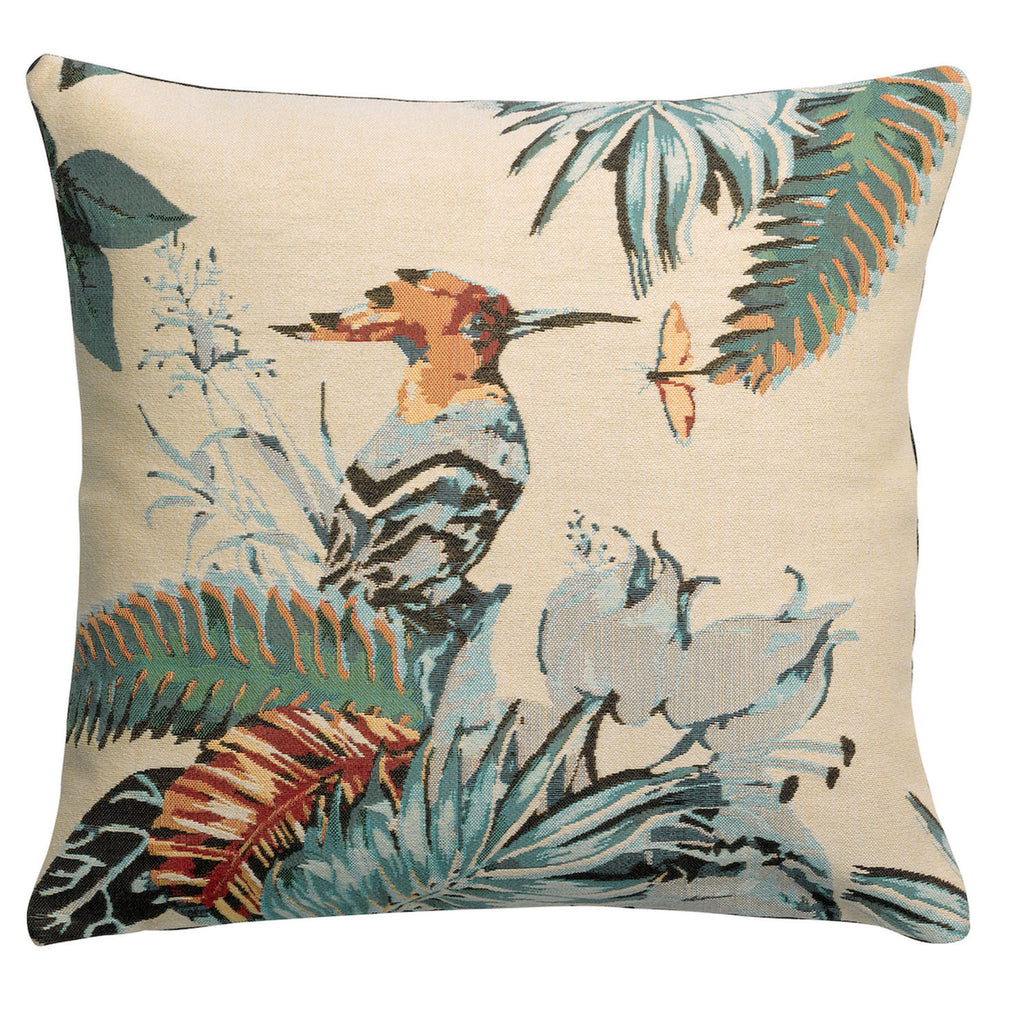 tropical bird printed cushion