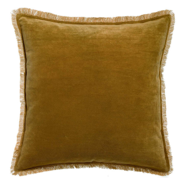 bronze velvet cushion with fringe edge