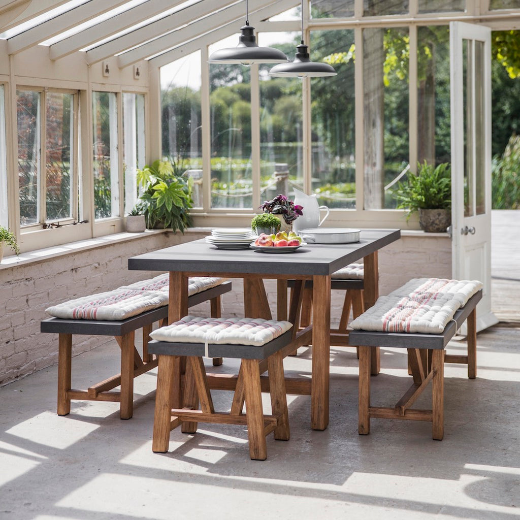 indoor dining table and benches