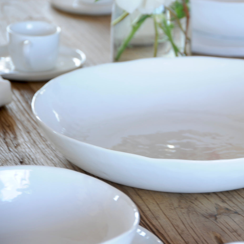 White porcelain rustic serving bowl