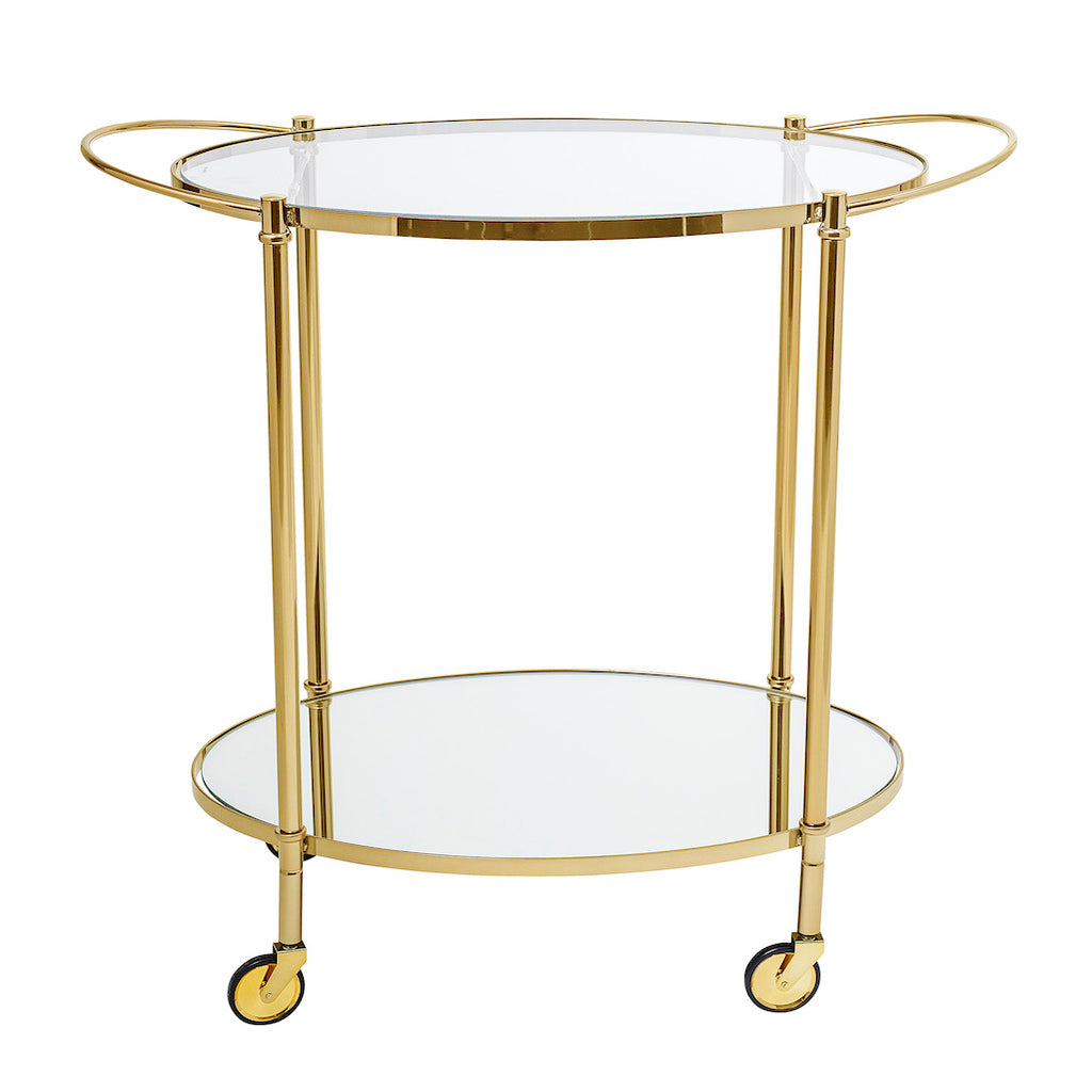gold and glass trolley