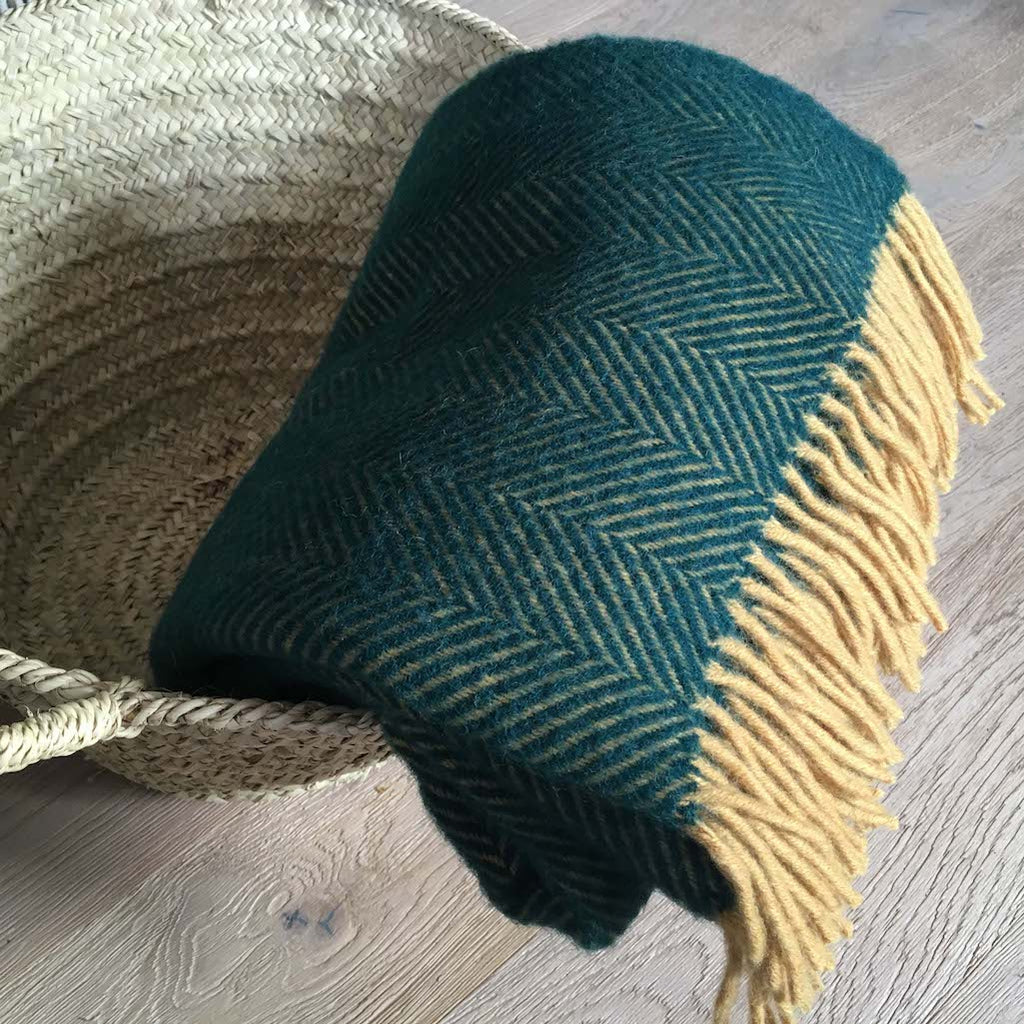 green wool throw